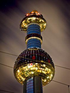 Spittelau chimney, Vienna. Austria. Designed by Hundertwasser. Probably the best looking trash incinerator ever.