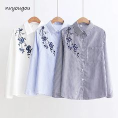 Discount This Month Autumn Floral Embroidery White Long Sleeve Women Blouses Blue Striped Shirt Cotton Casual Women Tops blusas mujer de moda 2018 Casual Tops For Women, Blouses For Women, Ladies Tops, White Long Sleeve, Long Sleeve Tops, Casual Chic, Womens Clothing Stores, Women's Clothing, Clothing Accessories