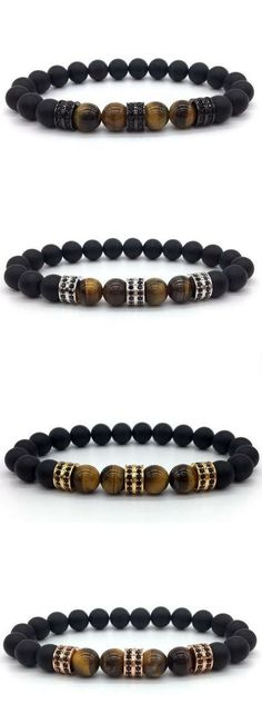 Shop for mens tiger eye stone bracelets with Free Worldwide Shipping at Gents Accessory. This stylish Mens Tiger stone and matte black bead bracelet features CZ Charms in a choice of 8 colors. Diy Jewellery Chain, Beaded Jewelry, Beaded Bracelets, Diy Jewelry, Blue Bracelets, Ring Armband, Armband Diy, Trendy Tattoos, Tattoos For Women