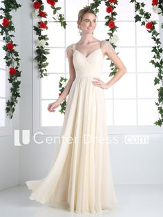 A-Line Long V-Neck Cap-Sleeve Chiffon Low-V Back Dress With Beading And Ruching
