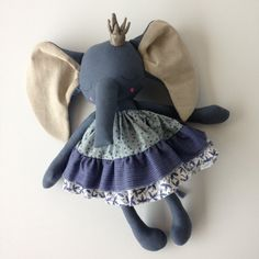 OOAK Blue Princess Elephant Heirloom Doll by PeanutAndElliott