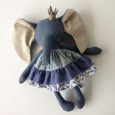 OOAK Blue Princess Elephant Heirloom Doll by PeanutAndElliott