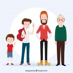 White man in different ages with flat design Vector Character Design Sketches, Character Design Cartoon, Character Design References, Character Design Inspiration, Character Flat, Style Inspiration, Underwater Drawing, Underwater Animals, Illustration Vector