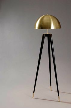 Fife tripod lamp by Matthew Fairbank Design. Spun brass shade, lathe turned ebonized oak legs and brass feet. Interior Lighting, Home Lighting, Modern Lighting, Lighting Design, Lighting Stores, Blitz Design, Handmade Lamps, Luminaire Design, Modern Floor Lamps