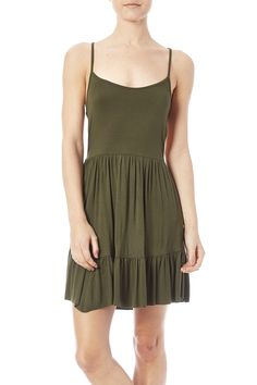 Ruffle bottom tank dress with an exposed back.   Ruffle Bottom Dress by Heart & Hips. Clothing - Dresses - Casual Oregon