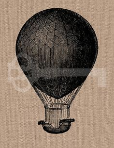 Vintage Hot Air Balloon image digital download: Image No.36, Commercial and Personal Use, image transfer, printable artwork
