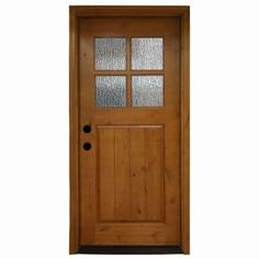 Steves & Sons 36 in. x 80 in. Cottage 4 Lite Rain Stained Knotty Alder Wood Prehung Front Door-A6404-RA-AW-MJ-4RI - The Home Depot