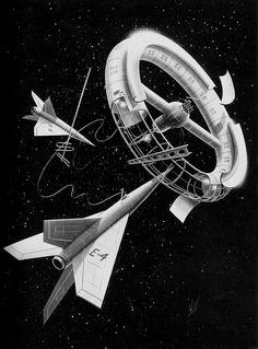 Illustration from Worlds in Space (1954) by Frank Wolff