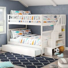 46 Stunning Bunk Bed Design Ideas That Will Be Solutions For Your Small Kids Bedroom Bunk Bed Rooms, Bunk Bed With Trundle, Full Bunk Beds, Bunk Beds With Stairs, Kids Bunk Beds, Boys Bedroom Ideas With Bunk Beds, Kids Beds For Boys, Shared Bedrooms, Cool Kids Bedrooms