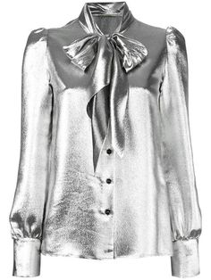 Silver silk blend metallic pussybow blouse from Saint Laurent featuring a front button fastening, long sleeves, button cuffs, a straight hem and puff shoulders… Grey Long Sleeve Shirt, Grey Shirt, T Shirt, Grey Blouse, Collar Blouse, Metallic Blouses, Look Star, Blouse Designs, Lace