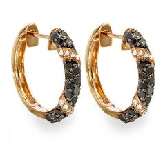 Elora 18k Rose Gold Plated Sterling Silver 1ct TDW Black Diamond Hoop... (270 NZD) ❤ liked on Polyvore featuring jewelry, earrings, black, polish jewelry, sterling silver long earrings, black diamond hoop earrings, sterling silver jewelry and 18 karat gold earrings