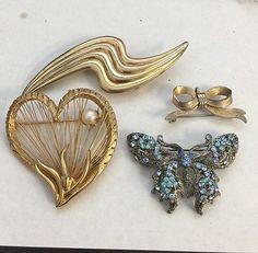 Vintage Brooch Lot Brooks Pearl Heart Butterfly Bow Rhinestone Pin Jewelry