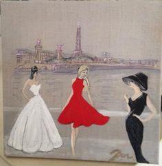 acrylique sur toile de lin . Le défilé des Parisiennes : Peintures par danetgeo