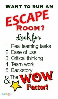ESCAPE ROOMS/BREAKOUTS What to look for to create an awesome escape experience for your class!