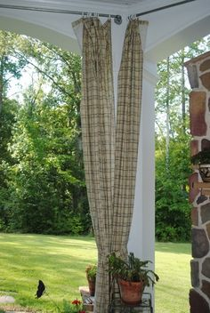 porch curtains for evening sun shade. I want to put a ceiling on my back porch (under the deck so the rain doesn't come through) and then add curtains or netting to stop insects Outdoor Curtains For Patio, Pergola Curtains, Outdoor Rooms, Outdoor Gardens, Outdoor Living, Outdoor Privacy, Outdoor Stuff, Outdoor Fabric, Outside Living
