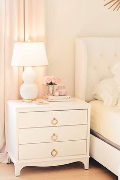 Bedroom Decor Ideas: A Romantic Master Bedroom Makeover - The Pink Dream - bedroom Makeover, white linen bedding, pink tufted bench, blush bedroom decor, white tufted headbo - Bed Makeover, Bedroom Makeover, White Tufted Headboards, Bedroom Interior, Romantic Bedroom Decor, Blush Bedroom Decor, Bedroom Night Stands, Master Bedroom Furniture, Nightstand Decor