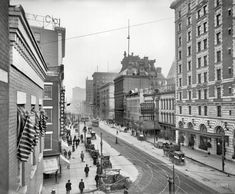 "Oooooo, here's an especially good one... Rochester, New York, circa 1908. ""Main Street and Hotel Rochester.""  @A Lifetime Legacy"