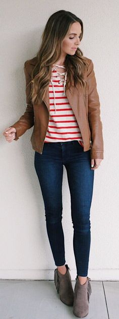 Brown Leather Jacket / Red Striped Top / Navy Skinny Jeans / Grey Suede Booties