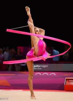 Daria Dmitrieva of Russia competes with the ribbon during the Individual All-Around Rhythmic Gymnastics final on Day 15 of the London 2012 Olympics Games at Wembley Arena on August 11, 2012 in London, England.