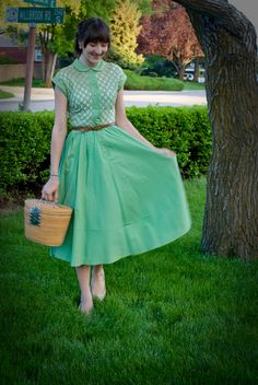 Kelly green vintage full circle dress