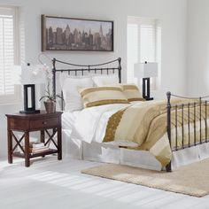 Neutral interiors. Ethan Allen Bedroom. Ethan Allen furniture. Iron beds.