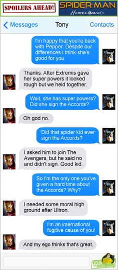 Texts From Superheroes Facebook | Twitter | Patreon --- Cap and Iron Man. The accords.