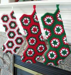 Crochet Christmas Stocking Granny Square by BernoullisAttic Crochet Christmas Stocking Pattern, Crochet Stocking, Holiday Crochet, Christmas Knitting, Crochet Ornaments, Crochet Snowflakes, Beau Crochet, Crochet Home, Crochet Crafts