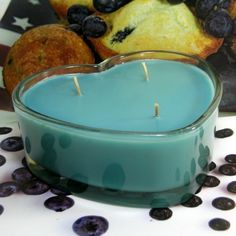 Blueberry Muffin PURE SOY 3 Wicked Heart Container Candle 16 oz.