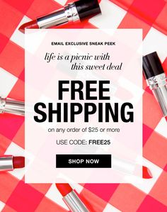 FREE Shipping today (8/17) and tomorrow (8/18) with your online order of $25 or more.  Don't miss out on this sweet DEAL, Use Code: FREE25.  Offer expires @midnight 8/18/16.  Direct Delivery Only. #AvonFreeShipping #Avon #AvonRep