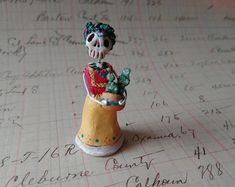Day of the Dead matchbox shrine figure Frida in the Garden with cactus