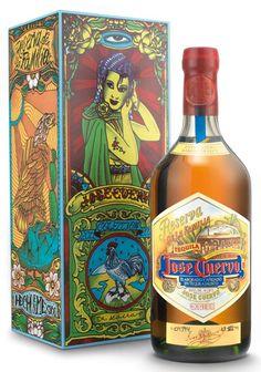 """2011- Collection - José Cuervo Reserva de la Familia  Jerónimo López Ramírez,  """"Dr. Lakra."""" - Artist  700 ml Bottle and Slide-Top Box"""
