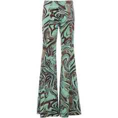 Emilio Pucci Printed Velvet Trousers (23.120 ARS) ❤ liked on Polyvore featuring pants, velvet pants, flare leg pants, green trousers, green pants and green velvet pants