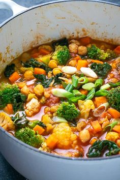 Plant-based coconut curry loaded with fresh vegetables simmered in a Thai red curry sauce Coconut Vegetable Curry, Vegetable Soup Recipes, Veggie Dishes, Coconut Curry, Thai Coconut, Veggie Meals, Vegan Dinner Recipes, Vegetarian Recipes Easy, Curry Recipes