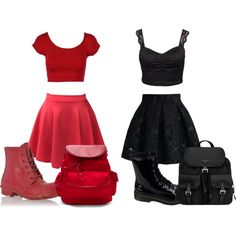 Black and Red by vicky1satkova on Polyvore featuring Oneness, Chicwish, Hunter, Prada, Hadaki and Burton