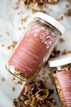 Sommer House Chocolate Granola on Behance Spices Packaging, Honey Packaging, Dessert Packaging, Bakery Packaging, Cookie Packaging, Food Packaging Design, Bottle Packaging, Packaging Design Inspiration, Gourmet Cookies