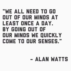 We all need to go out of our minds at least once a day. By going out of our minds we quickly come to our senses.