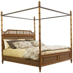 Tommy Bahama Island Estate West Indies Bed 531-163C faux bamboo canopy bed ** paint custom lacquer color **