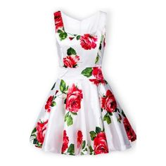 White Sleeveless Bandeau Floral Tank Dress ($34) ❤ liked on Polyvore featuring dresses, sheinside, floral, red, sleeveless dress, red sleeveless dress, white dress, sleeveless floral dress and red tank top dress