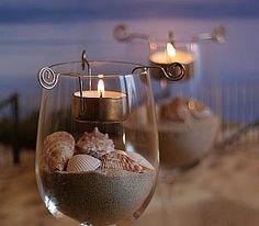 Wine Glass Seashell Decorating Idea