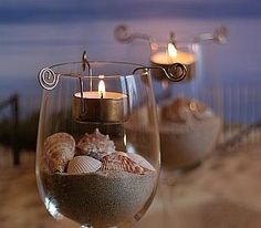 Wine Glass Seashell Decorating Idea