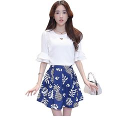 2016 summer new women's casual fashion trend floral print mini dress  half horn sleeve white shirt suit -- You can find out more details at the link of the image.