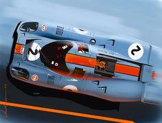 Porsche 917 Gulf by ChrisKwia / Technical, digital painting. www.digital-painting-fine-art.com