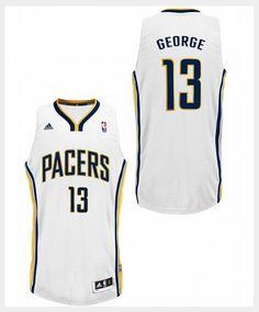 Adidas NBA Indiana Pacers 13 Paul George New Revolution 30 Swingman White Jersey