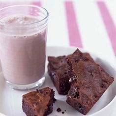 Triple-Chocolate Brownies | MyRecipes.com......Like your brownies super chocolaty and a little fudgy? You've come to the right place. Grab a glass of milk and dig in