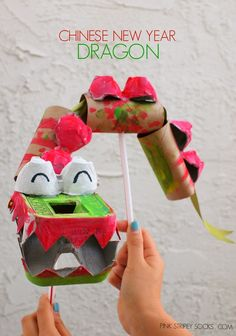 Chinese New Year Dragon Puppet !  (Made from recycled materials)