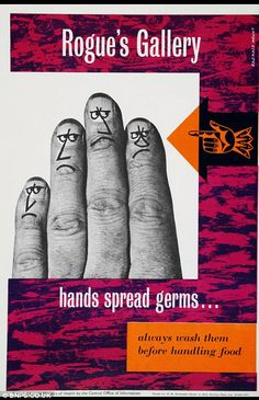 Germs: People were encouraged to wash their hands before handling food and prevent the spread of germs