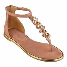 Make a casually elegant entrance whenever you wear our Keylime sandals with golden chain detail. Open-toe thong sandal with T-strap. Back zip for easy on/off. Padded footbed for all-day comfort. Leather nubuck upper. Man-made lining and sole. Imported. 1/2 inch heels. Women's shoes. Thong sandals.