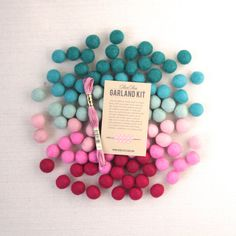{ Listing Specifics }  Celebrate friends and crushes with these felt ombre pom-poms. Use these poms in accompaniment with our garland kit to make