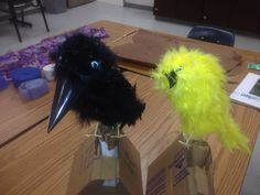 Birds I made for my kids in class. They represent a crow smartest birds and the Taveta weaver the best nest builders n two kids are those guys in a talent show skit. They represent their personalities or abilities in this morality story I wrote. Creepy birds tho aye!