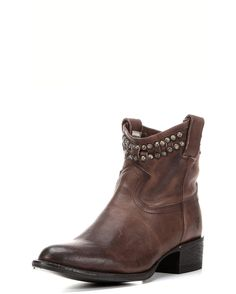 Western style boot made with a slit leather top line and studs that are hand hammered. Made in washed, calf leather.